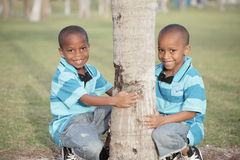 Cute youg brothers in the park Stock Photo