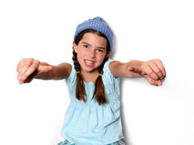 Cute young advertisement Girl Stock Photos