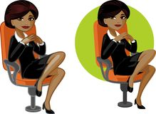 Cute young African American office woman on chair Royalty Free Stock Photography