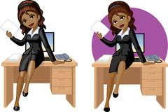 Cute young African American office woman sitting Stock Photography