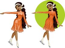 Cute young African American woman figure skater Stock Image