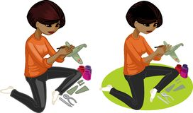 Cute young African American woman hobbyist Royalty Free Stock Image