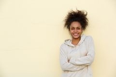 Cute young african american woman smiling Stock Image