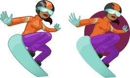 Cute young African American woman on snowboard Stock Image