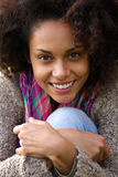 Cute young african woman smiling outdoors Stock Photography