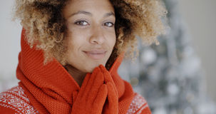 Cute young African woman in winter fashion Royalty Free Stock Photography