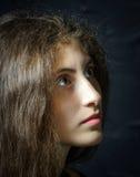Cute young armenian girl posing in studio. Like Mona Lisa stock images