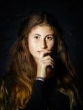 Cute young armenian girl posing in studio. Like Mona Lisa royalty free stock image