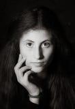 Cute young armenian girl posing in studio. Like Mona Lisa stock photos