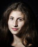 Cute young armenian girl posing in studio. Like Mona Lisa royalty free stock images