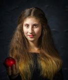 Cute young armenian girl posing in studio. Like Mona Lisa stock photo
