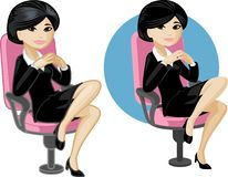 Cute young Asian office woman on chair Royalty Free Stock Images