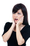 Cute Young Asian Woman Looking Surprised Stock Photo