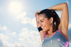 Cute young athlete getting ready for morning run. Royalty Free Stock Images
