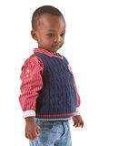 Cute young black boy looking stock photo