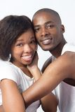 Cute Young Black Couple joking and playing Stock Image