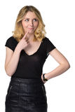 Cute young blond girl looking puzzled, isolated on white Royalty Free Stock Photo