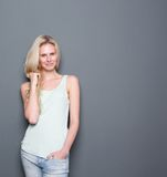 Cute young blond lady smiling Stock Photo