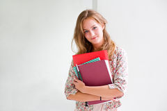 Cute young blond student girl. Royalty Free Stock Image