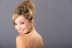Cute young blonde model,with bare shoulders Royalty Free Stock Photos