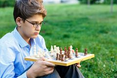 Cute, young boy in blue shirt and round glasses plays on the wooden chessboard on the grass in the park. Education, hobby royalty free stock photos