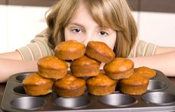 Cute young boy cooking Stock Photography