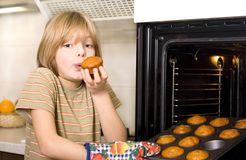 Cute young boy cooking Stock Photos