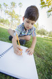 Cute Young Boy Drawing Outdoors on the Grass. Cute Young Artistic Boy Drawing with Pencil and Paper Outdoors on the Grass Royalty Free Stock Images