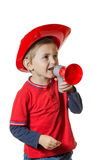 Cute young boy in a fireman costume Stock Images