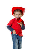 Cute young boy in a fireman helmet Royalty Free Stock Photos
