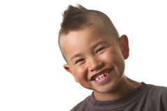 Cute young boy with funny mohawk haircut isolated. On white background Royalty Free Stock Photography