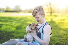 Cute, young boy in the garden holding a boxer dog Royalty Free Stock Photography