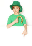Cute young boy in a green hat - St. Patrick Royalty Free Stock Photo