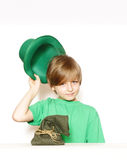 Cute young boy in a green hat - St. Patrick Stock Photo