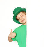 Cute young boy in a green hat - St. Patrick Royalty Free Stock Photos