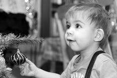 Cute Young Boy, His First Christmas Stock Photos