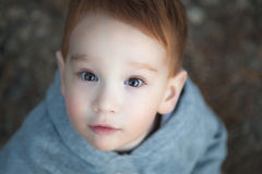 Cute young boy looking up. At camera Stock Images