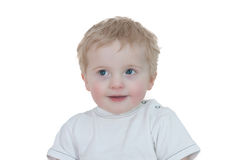 Cute young boy looking up on white Royalty Free Stock Photo