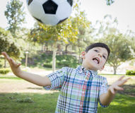 Cute Young Boy Playing with Soccer Ball in Park Stock Photography