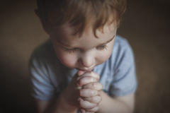 Cute Young Boy Praying. A cute young boy praying with hands clasped Royalty Free Stock Photos