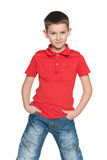 Cute young boy in a red shirt Stock Photography