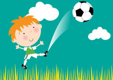 Little Boy Kicking Soccer Ball Royalty Free Stock Images