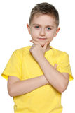 Cute young boy in yellow shirt Stock Images