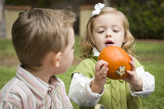 Cute Young Brother and Sister At the Pumpkin Patch Royalty Free Stock Photo