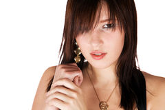Cute young brunette girl portrait isolated. Studio Royalty Free Stock Photography