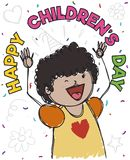 Happy Brunette Girl Celebrating Children`s Day with Confetti, Vector Illustration. Cute young brunette girl under a confetti shower in doodle style celebrating Stock Photo