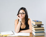 Cute young brunette student girl. Stock Image