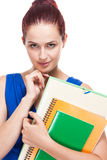 Cute young brunette student. Royalty Free Stock Photos