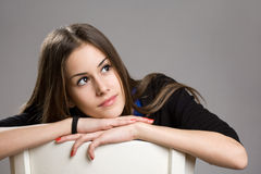 Cute young brunette teen girl. Royalty Free Stock Photography
