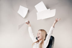 Cute young business lady stock photo